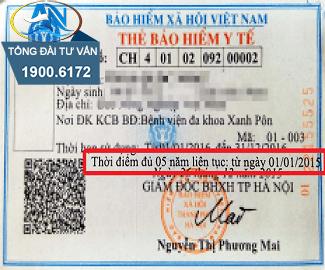 Thời điểm đủ 5 năm liên tục trên thẻ BHYT